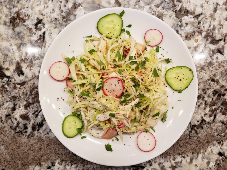 cabbage salad with radish and cucumber