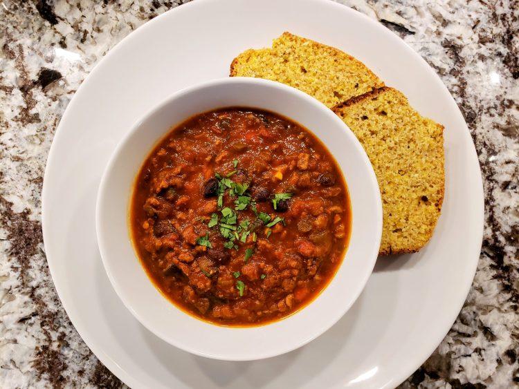 Turkey black bean chili cornbread