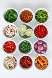 ingrédients épices légumes condiments