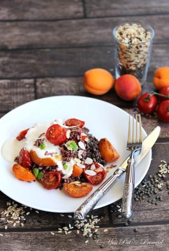 Riz de camargue aux lentilles, abricots et tomates rôties, sauce au yaourt