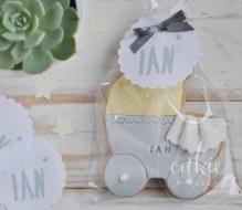 Galletas decoradas bautizos - Modelo Carrito de Bebé - Cukie Project