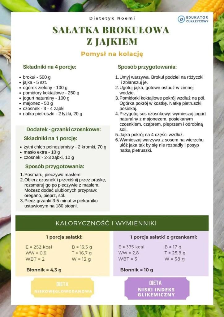 kolacja dla cukrzyka sałatka brokułowa z jajkiem Edukator Cukrzycowy