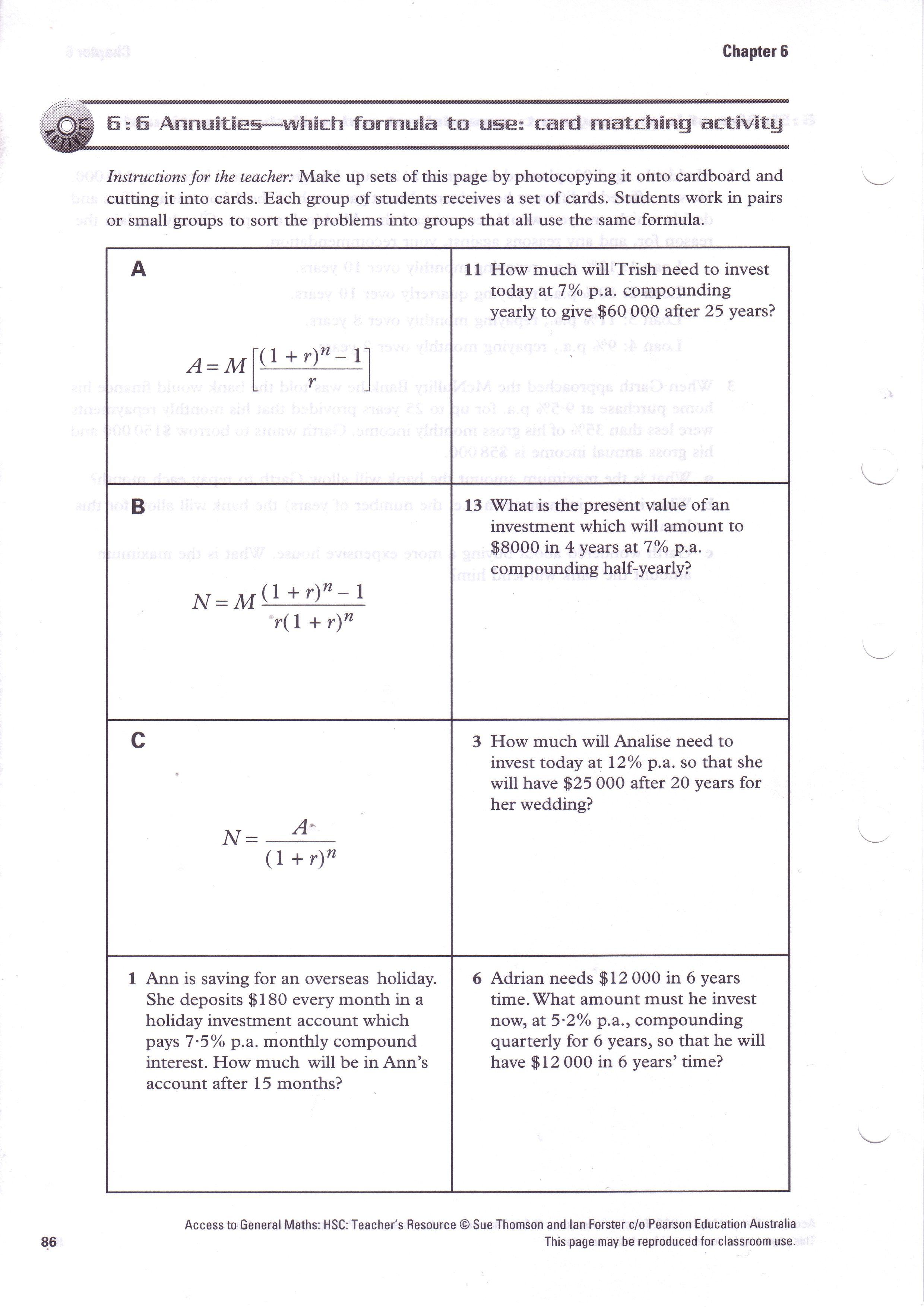 Annuityf Algebra Annuity Formula