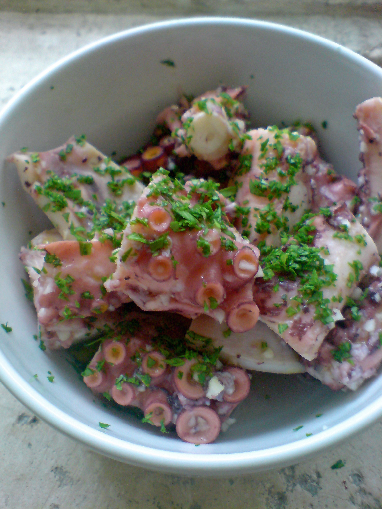 Octopus salad finished dish