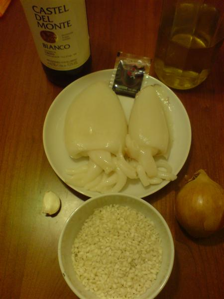 Black cuttlefish risotto ingredients