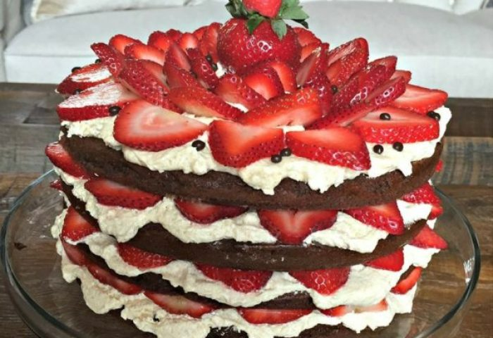 German Chocolate Cake With Strawberries And Whip Cream Culinary