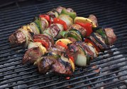 Grilled beef kabobs with rogan josh marinade