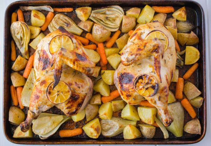Sheet-pan chicken & vegetables. Perfect for a busy weeknight or comforting Sunday dinner. Everything cooks in one sheet pan.