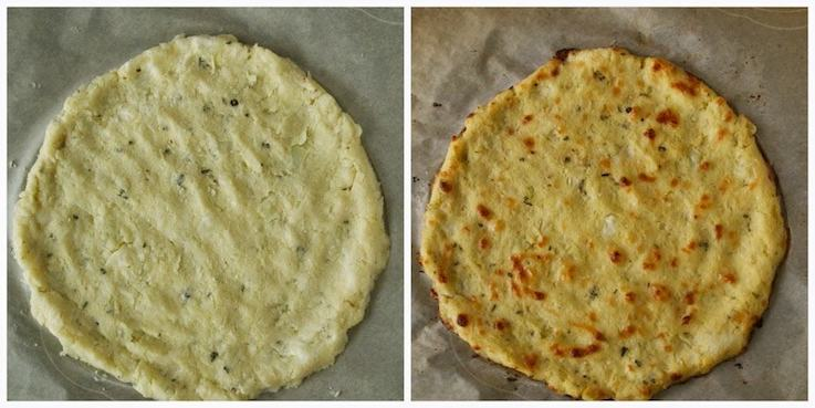 Cauliflower Crust Tomato Basil Pizza dough before and after it is baked