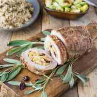 Cornbread, apple & cranberry stuffed pork loin