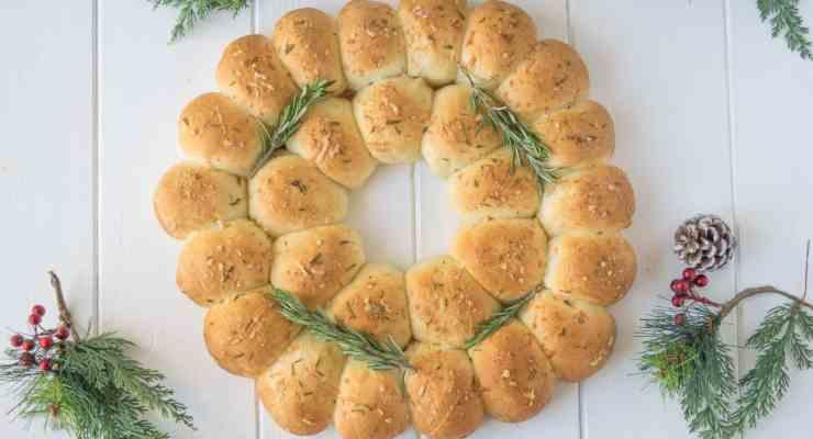 Holiday rosemary bread wreath