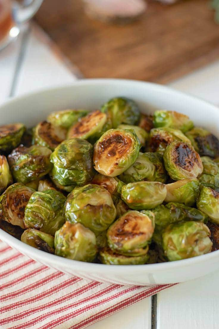 Perfectly roasted Brussels sprouts showing the glaze