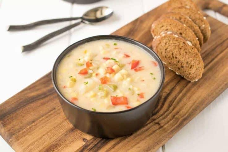 celery, chowder, comfortfood, corn, dairy, madewitha2milk, potato, redpepper, soup, summer