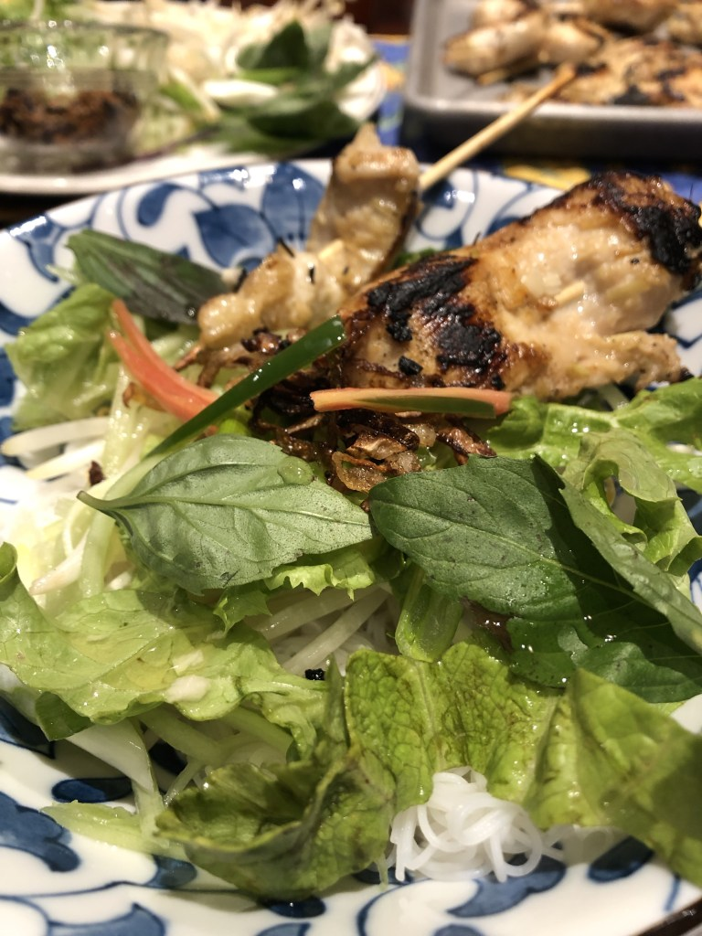 Lemongrass chicken rice noodle bowl