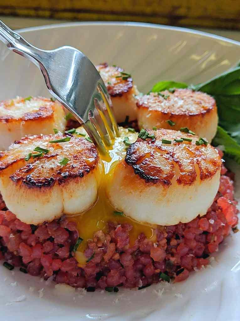 Beet Tartare with seared scallops