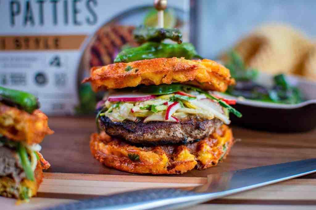 Thai turkey burger Chaffle with Keto thai veggie salad