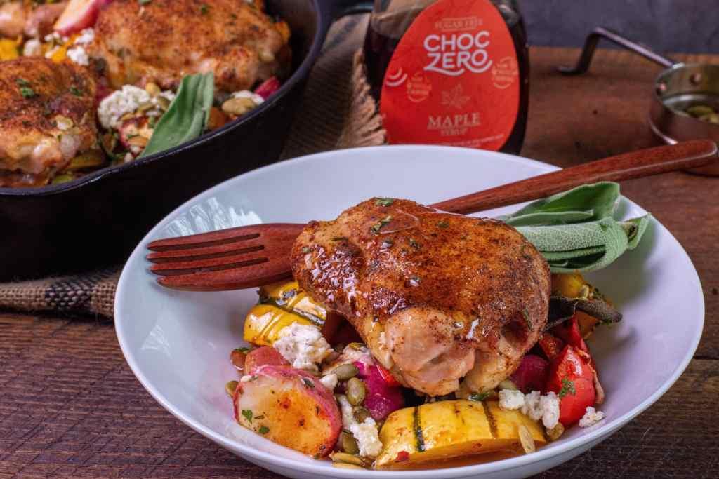 maple glazed boneless skinless chicken thigh over roasted delicate squash