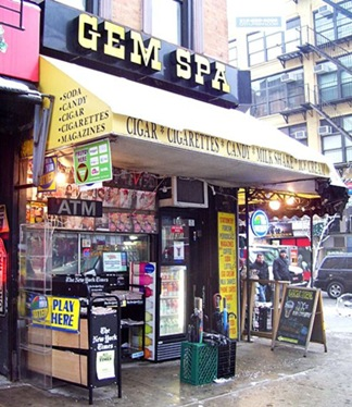 Gem Spa newstand in St. Mark's Place, Manhattan