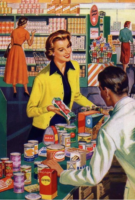 friendly happy grocery store checkout retro image