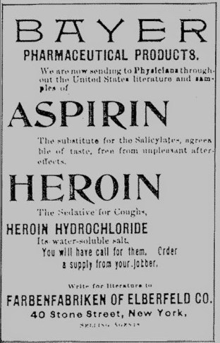 Vintage drug advertisement with Bayer Aspirin and Bayer Heroin in the same ad
