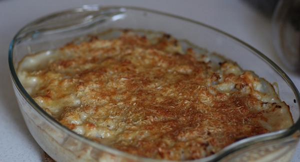 cauliflower gratin dish