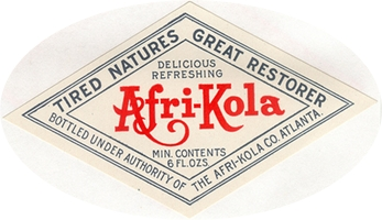 Afri-Kola label. Early Coca-Cola imitator