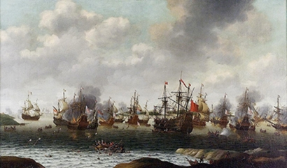 """Attack on the Medway"""" painting by Pieter Cornelisz van Soes, 1667, depicting the Dutch Attack on the Medway during the Anglo-Dutch wars"""