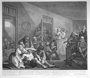 interior of Bedlam or Bethlem Royal Hospital, painting by William Hogarth, 1763, called The Rake's Progress