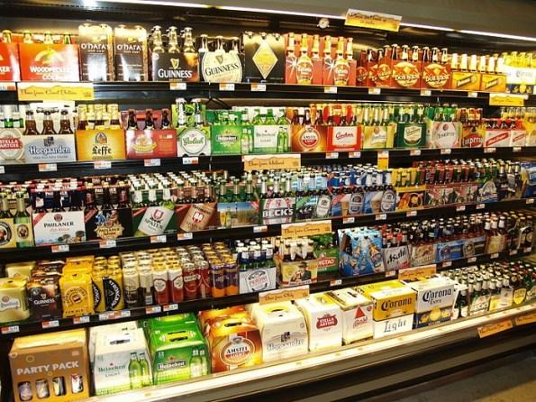 beer in store under lights