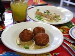 Boudin balls at restaurant