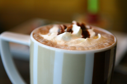 Café mocha with whipped cream, image © JJAVA
