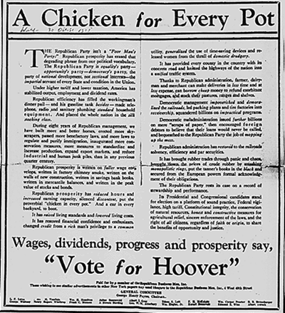 historical chicken in every pot campaign flyer