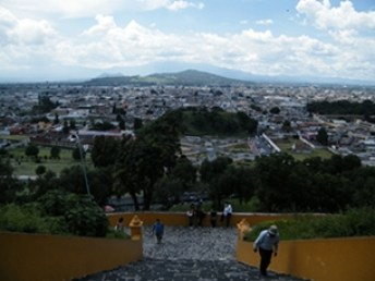 view of Cholula puebla frm pyramid