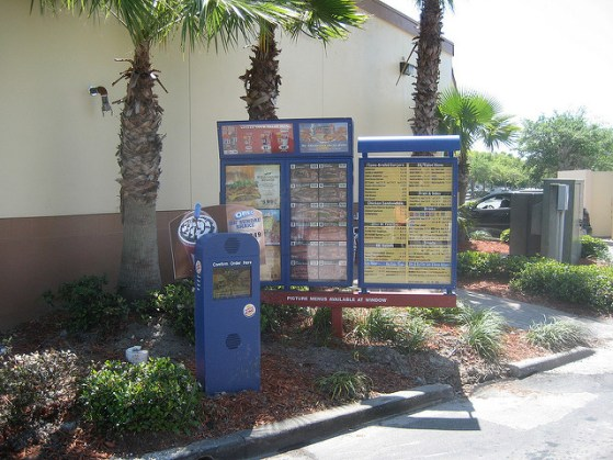 Burger King Drive-thru menu board