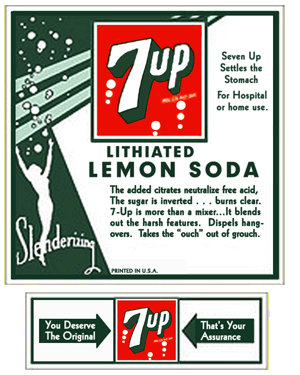 early 7up lithiated lemon soda ad