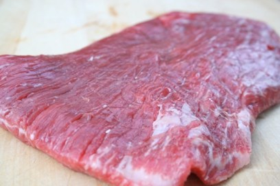 Raw Flank Steak Close-Up