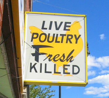 sign advertising fresh killed poultry