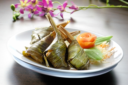 Thai fried chicken wrapped in screwpine leaves, or gai hor bai-toey