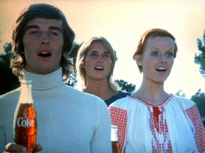 """Frame from the famous Coca-Cola Hilltop Commercial, 1971. """"I'd like to buy the world a Coke!"""""""