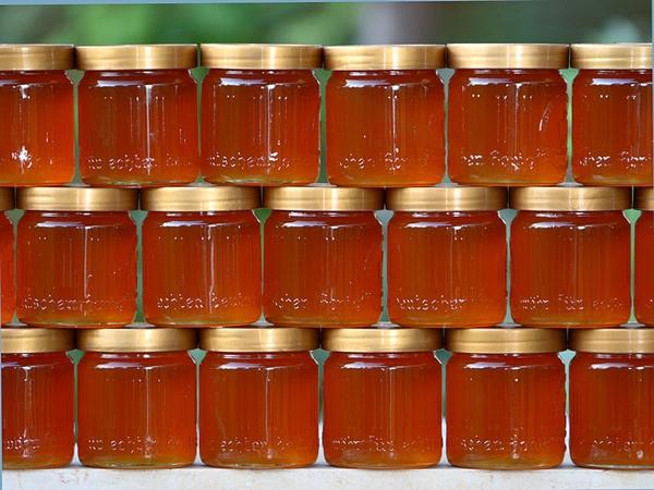 stacked jars of fresh honey
