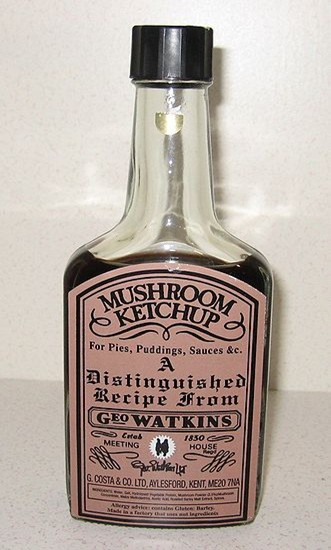 old time bottle of mushroom ketchup, circa 1830