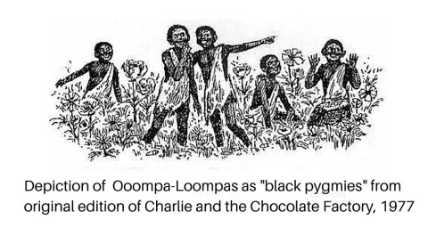 Oompa Loompas from Charlie and the Chocolate Factory depicted as black pygmies