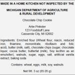 Sample Cottage Food Label for Michigan