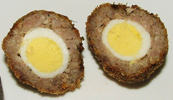 Scotch quail eggs, sliced