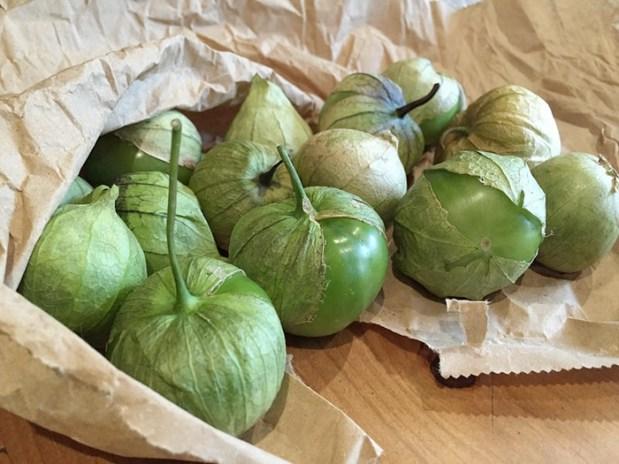 Fresh green tomatillos.