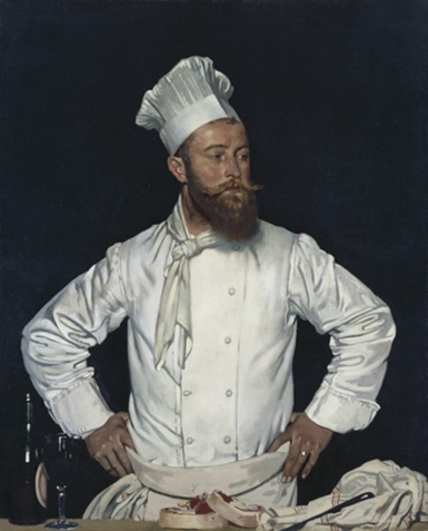 Traditional chef's uniform, toque, jacket, torchon, apron