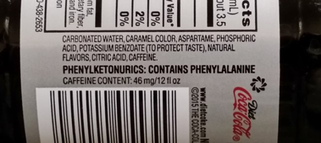 Phenylketonurics warning on bottle of Diet Coke.