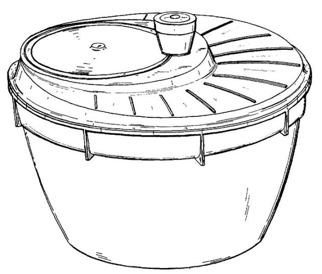 Patent drawing of salad spinner