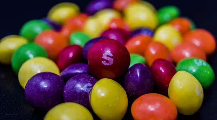 Chewy food texture Skittles candy pieces
