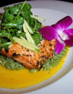 Salmon with Bamboo Rice, Watercress & Green Apple Salad